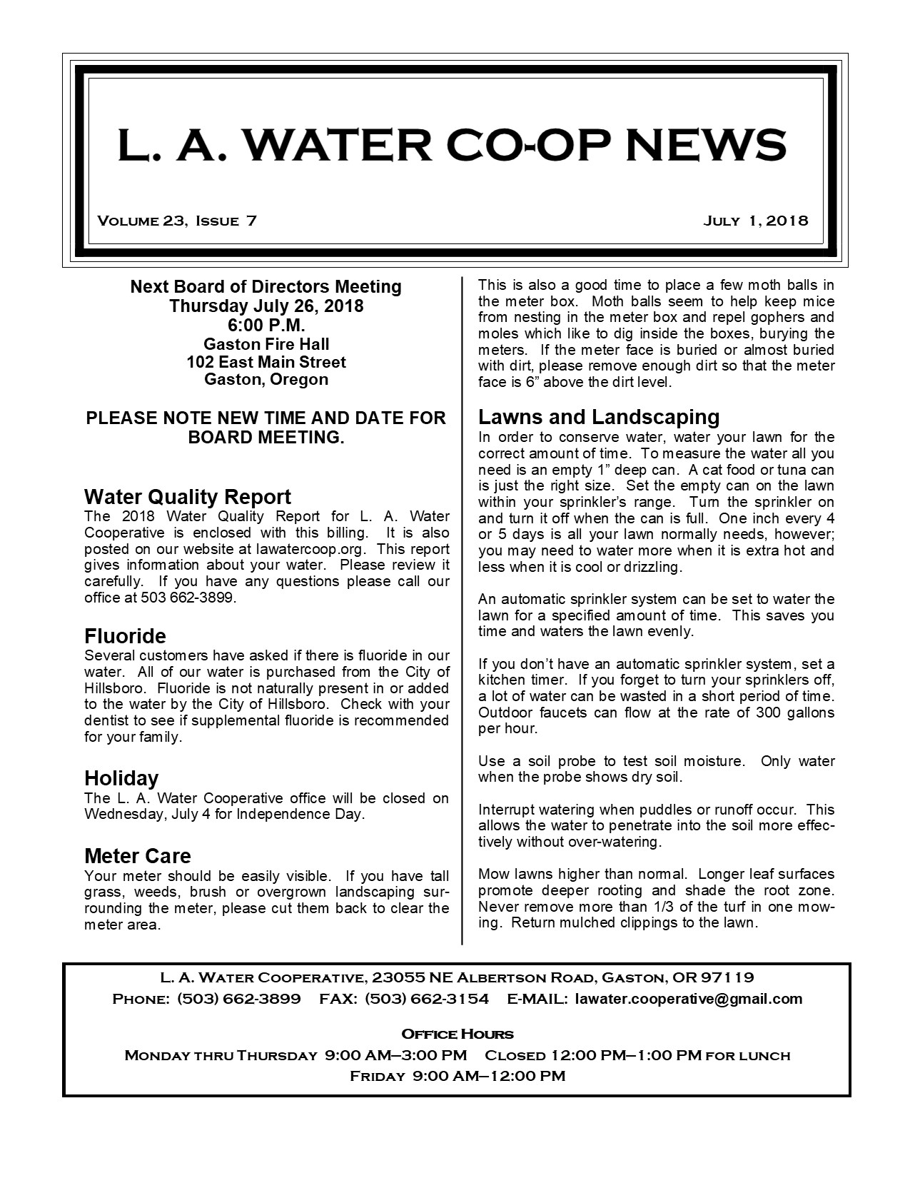 Co-Op News by Month – L  A  WATER COOPERATIVE